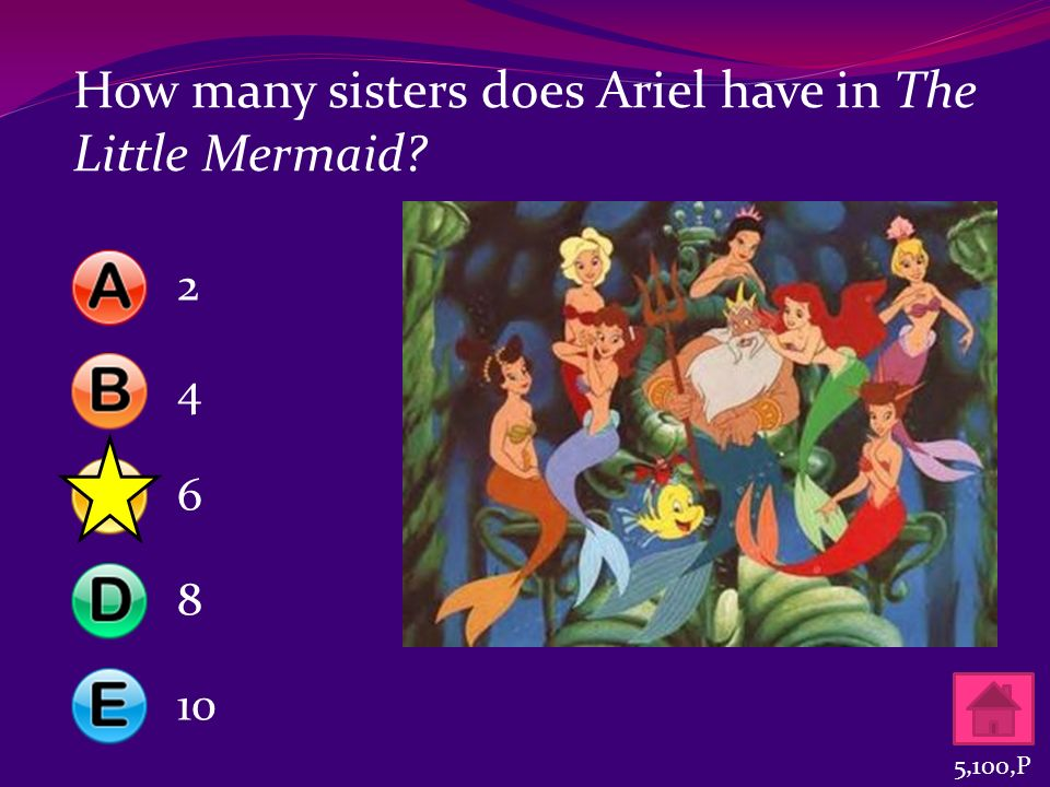 How many sisters does Ariel have in The Little Mermaid