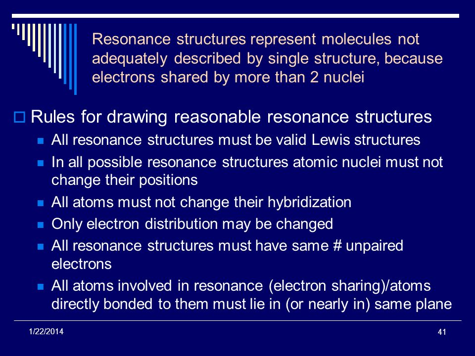 Rules for drawing reasonable resonance structures