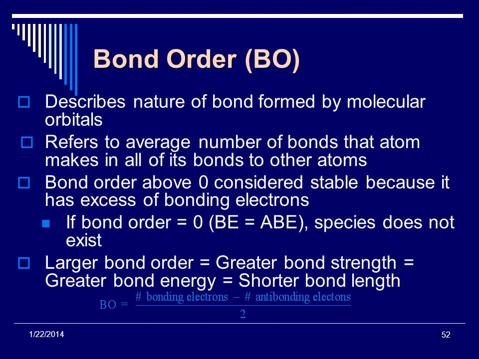 Bond Order (BO) Describes nature of bond formed by molecular orbitals