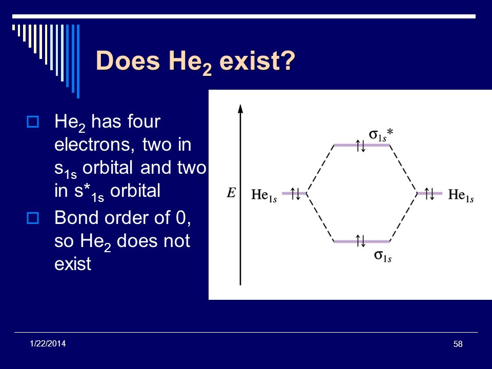 Does He2 exist He2 has four electrons, two in s1s orbital and two in s*1s orbital. Bond order of 0, so He2 does not exist.