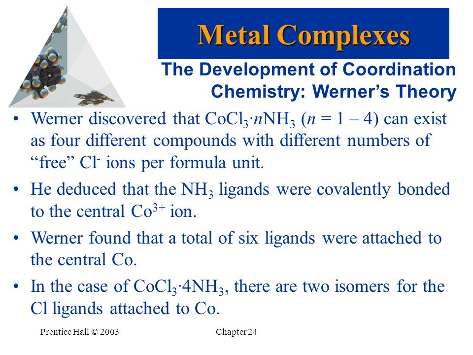 Metal Complexes The Development of Coordination Chemistry: Werner's Theory.