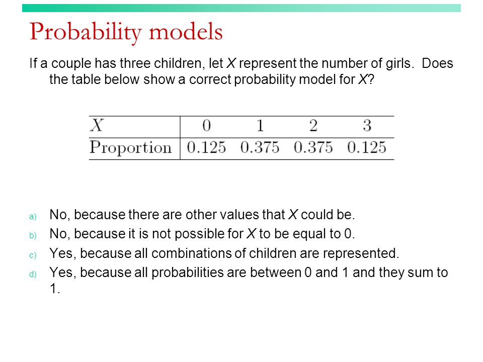 Probability models If a couple has three children, let X represent the number of girls. Does the table below show a correct probability model for X