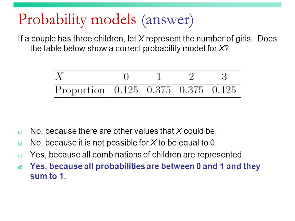Probability models (answer)