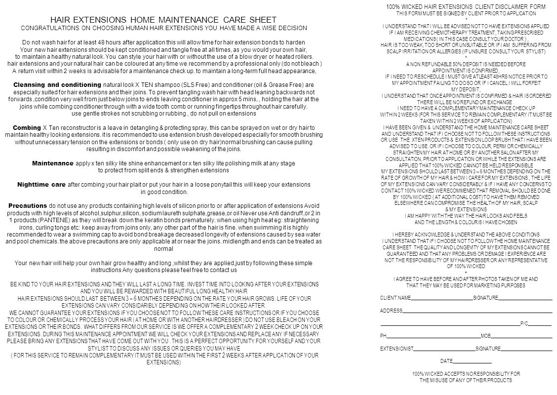 HAIR EXTENSIONS HOME MAINTENANCE CARE SHEET