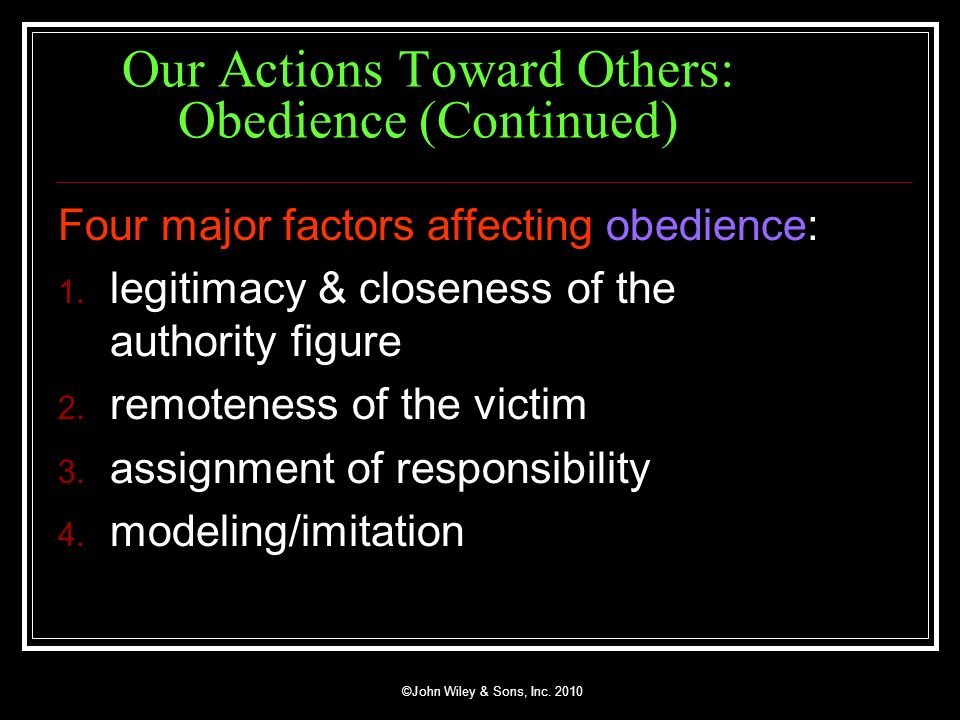 Our Actions Toward Others: Obedience (Continued)