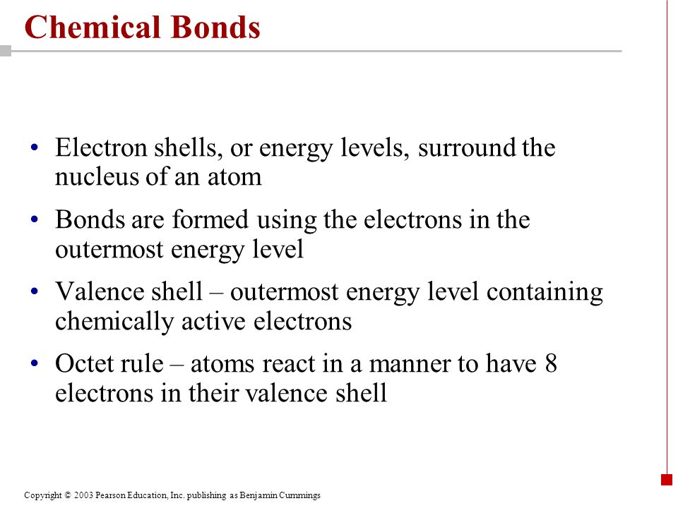 Chemical Bonds Electron shells, or energy levels, surround the nucleus of an atom.