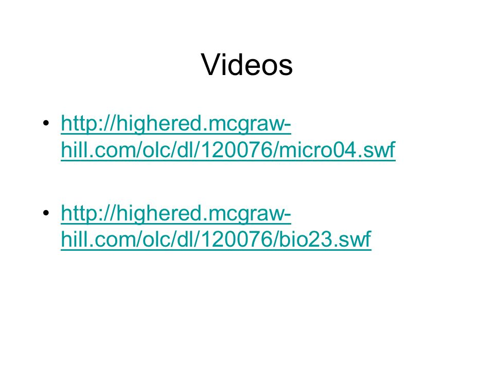 Videos http://highered.mcgraw-hill.com/olc/dl/120076/micro04.swf