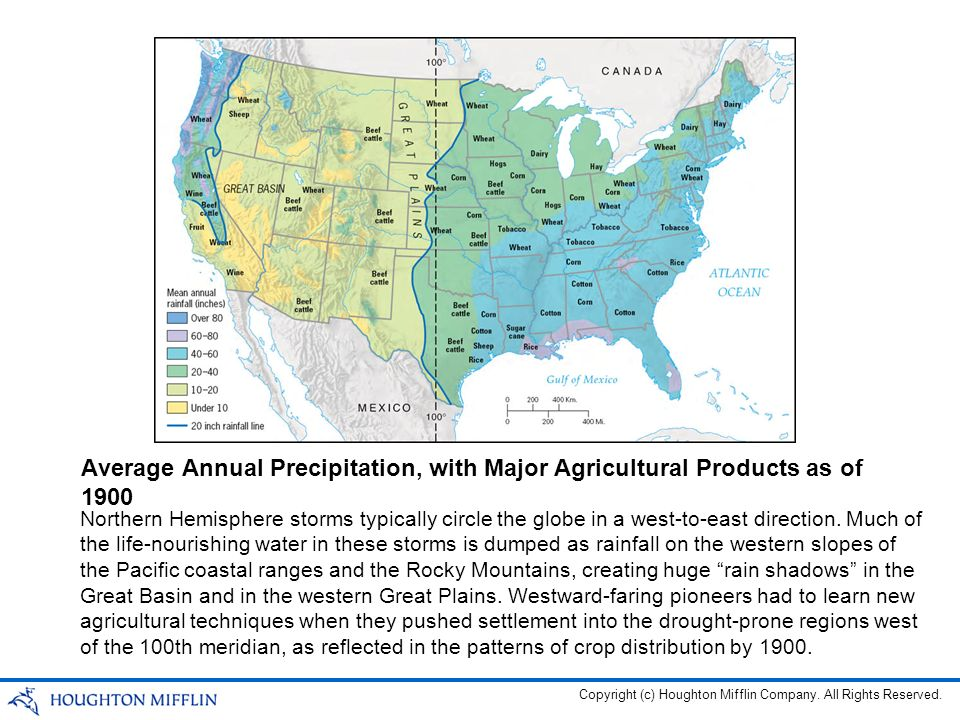 Average Annual Precipitation, with Major Agricultural Products as of 1900