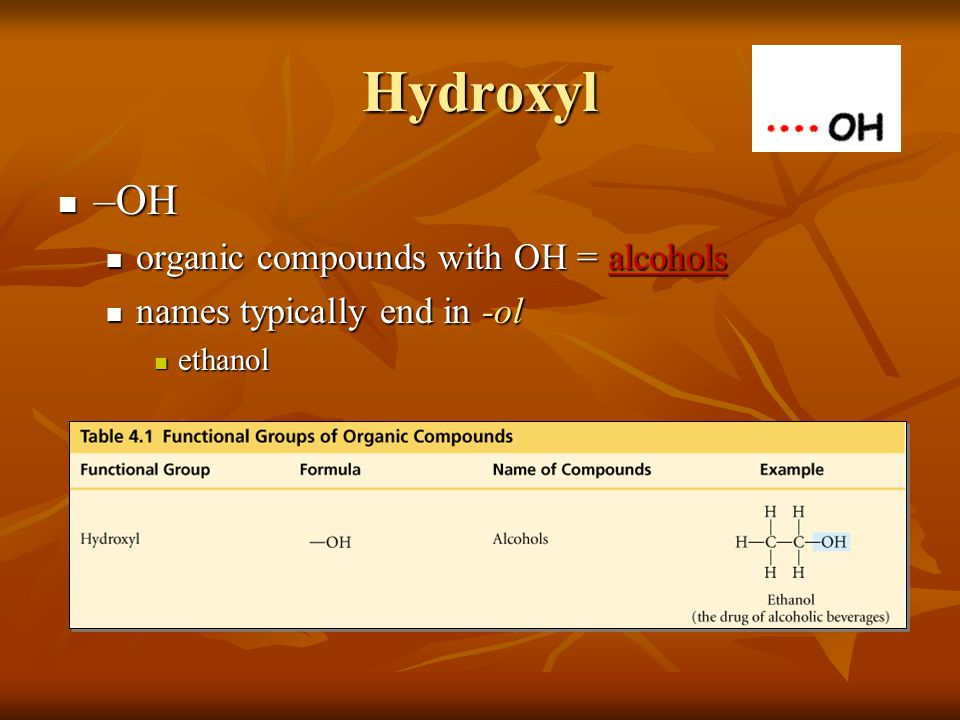 Hydroxyl –OH organic compounds with OH = alcohols
