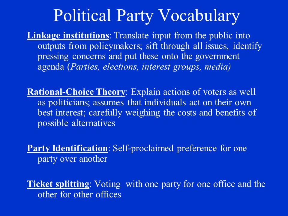 Political Party Vocabulary