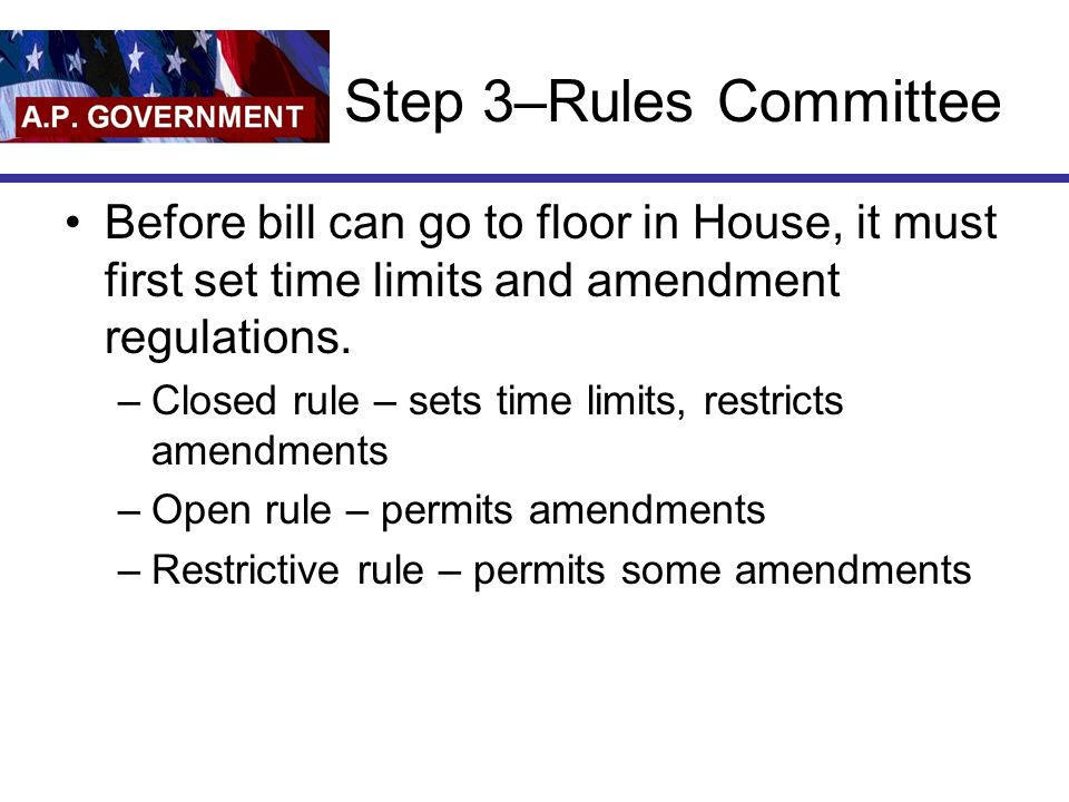 Step 3–Rules Committee Before bill can go to floor in House, it must first set time limits and amendment regulations.