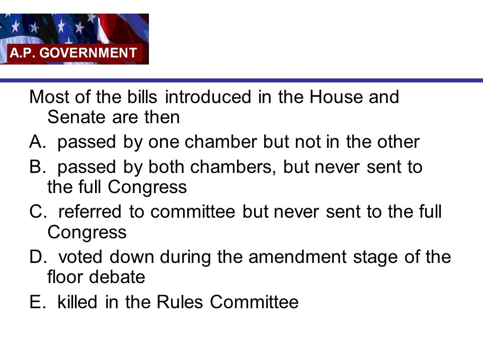 Most of the bills introduced in the House and Senate are then