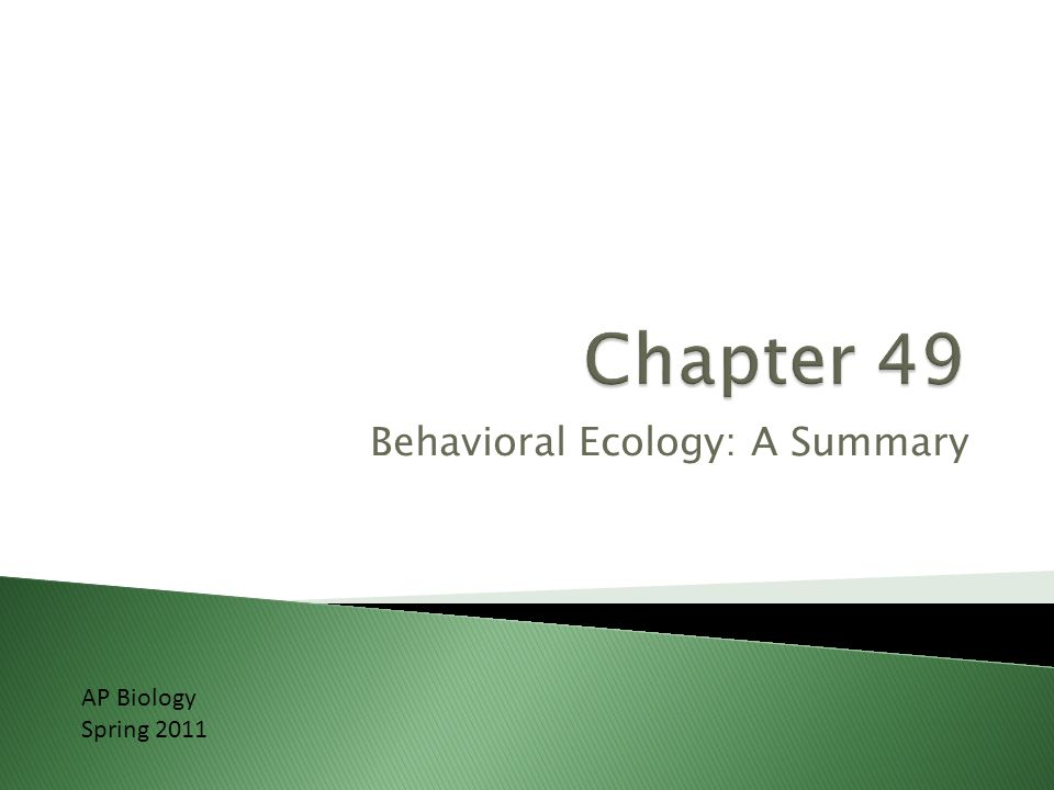 Behavioral Ecology: A Summary