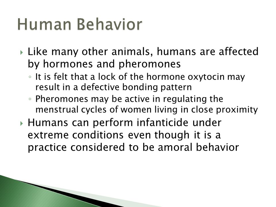 Human Behavior Like many other animals, humans are affected by hormones and pheromones.