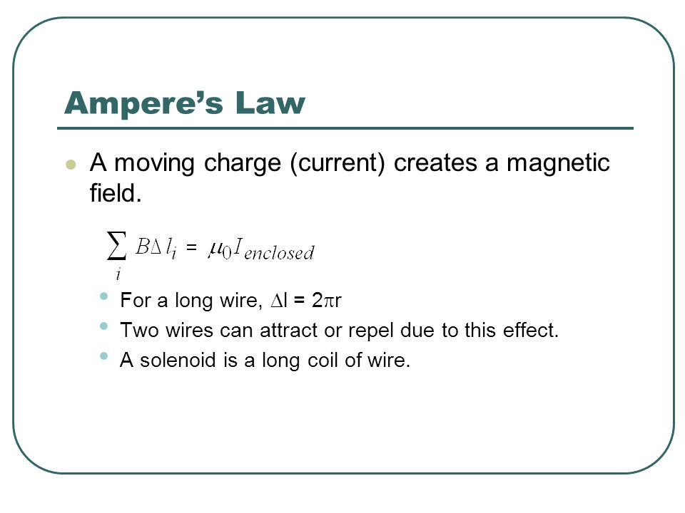 Ampere's Law A moving charge (current) creates a magnetic field.