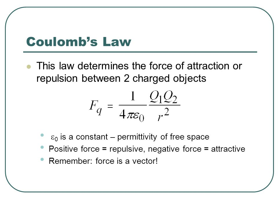Coulomb's Law This law determines the force of attraction or repulsion between 2 charged objects. e0 is a constant – permittivity of free space.