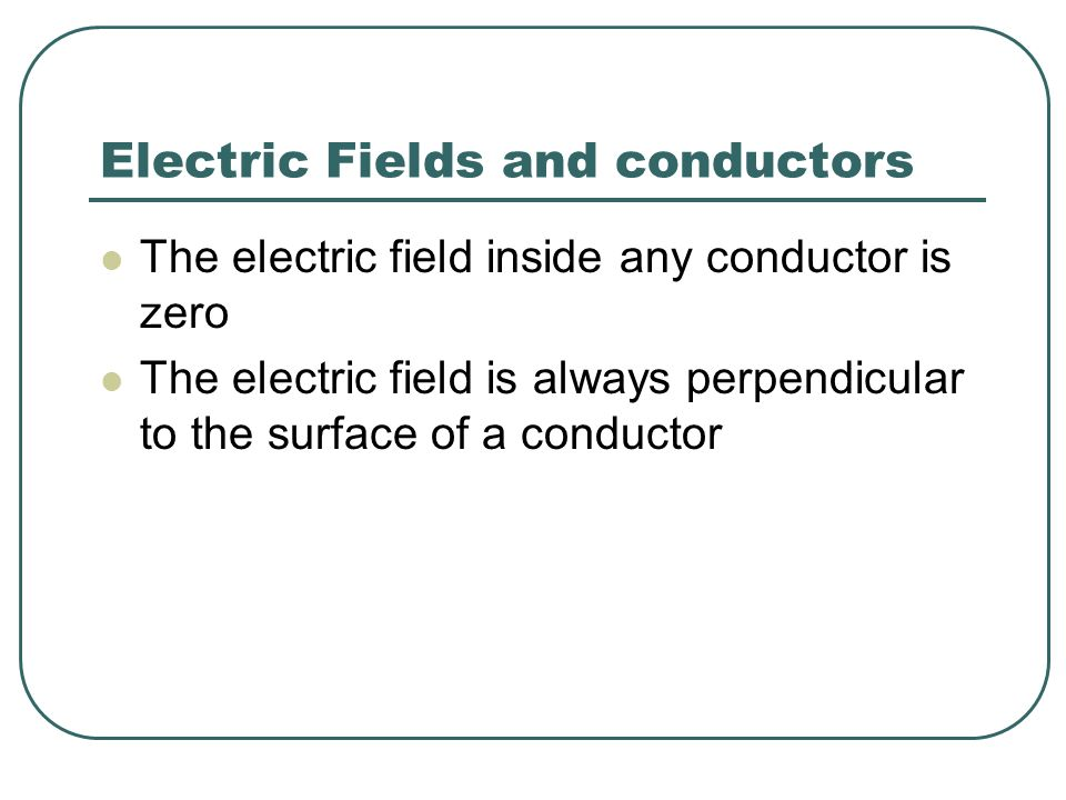 Electric Fields and conductors