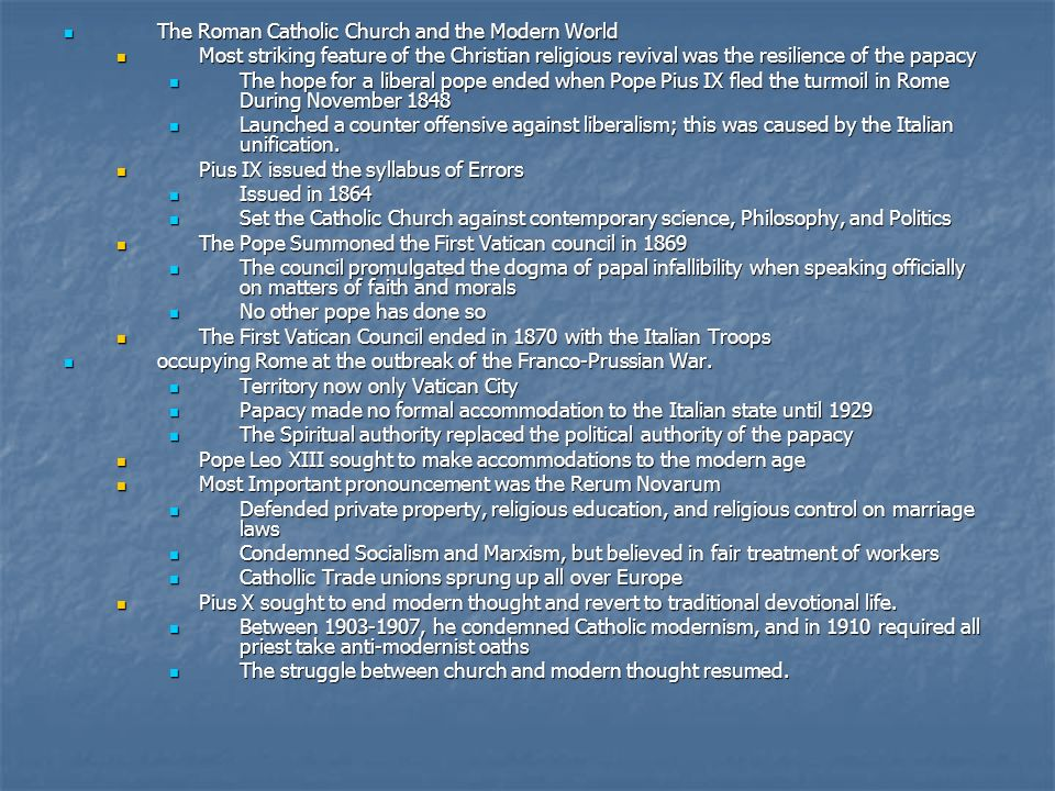 The Roman Catholic Church and the Modern World