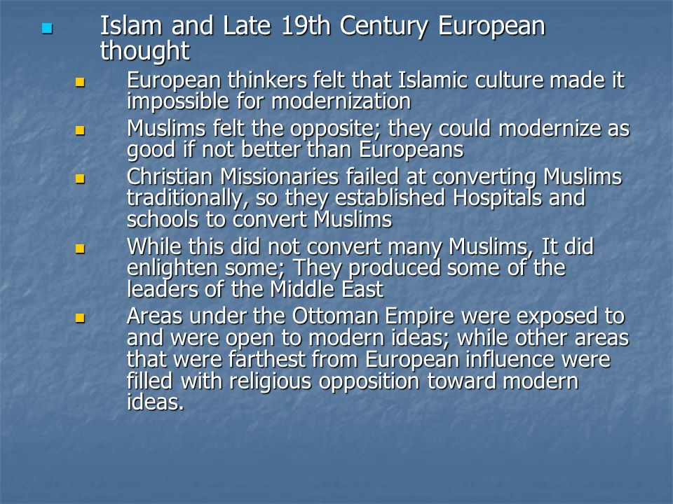Islam and Late 19th Century European thought