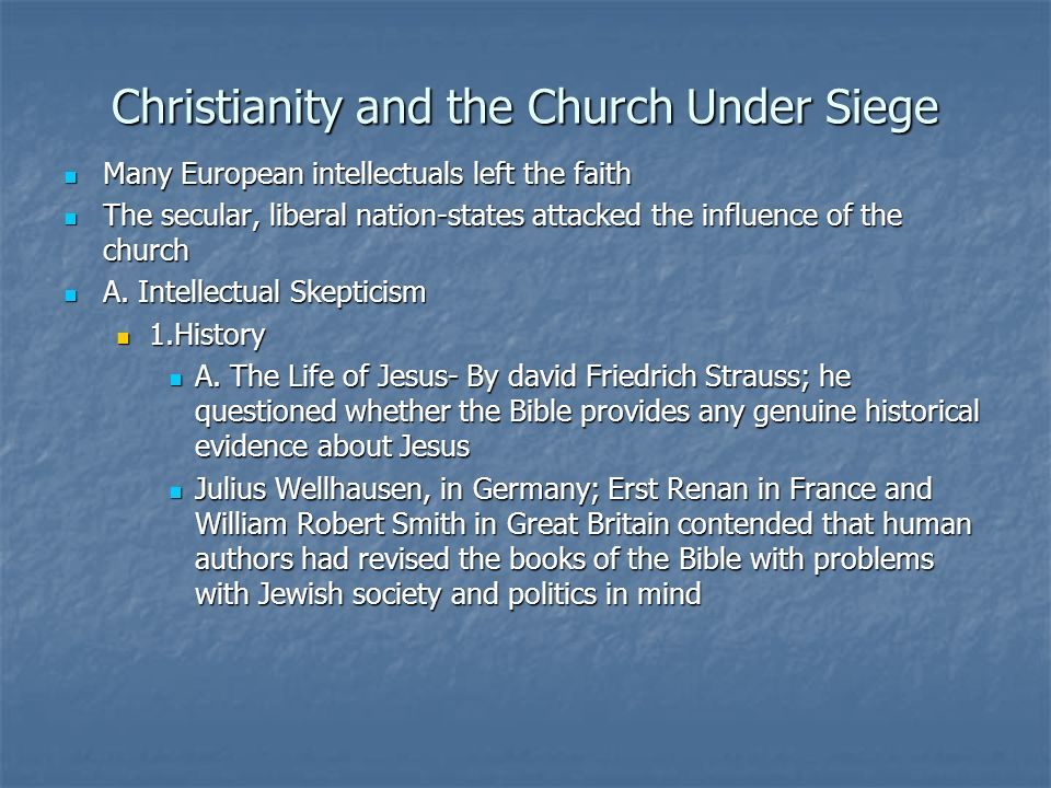 Christianity and the Church Under Siege