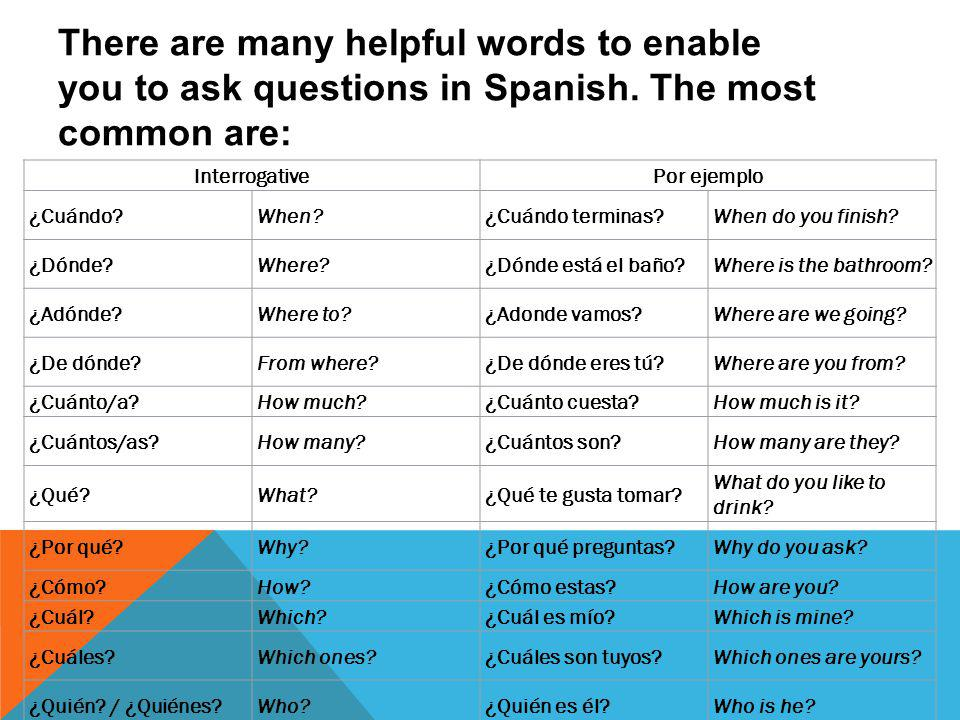 Asking and answering questions in spanish - ppt video online