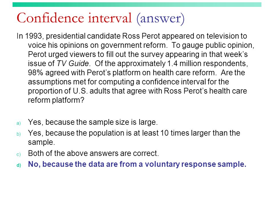 Confidence interval (answer)