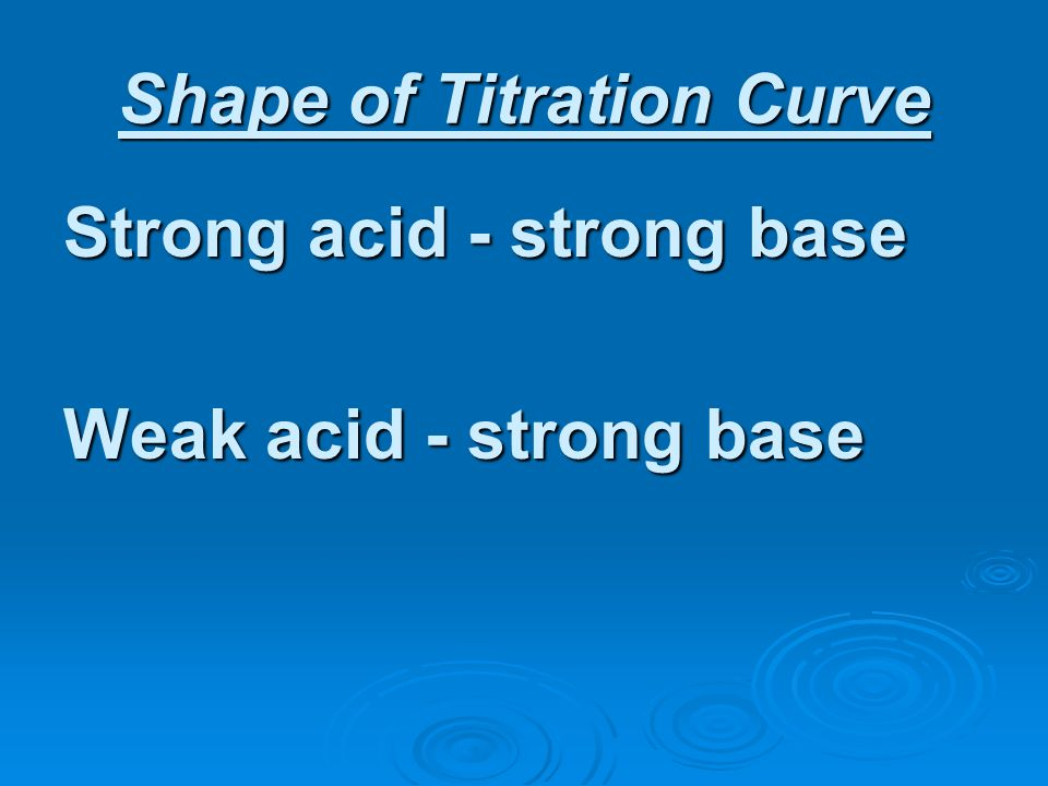 Shape of Titration Curve