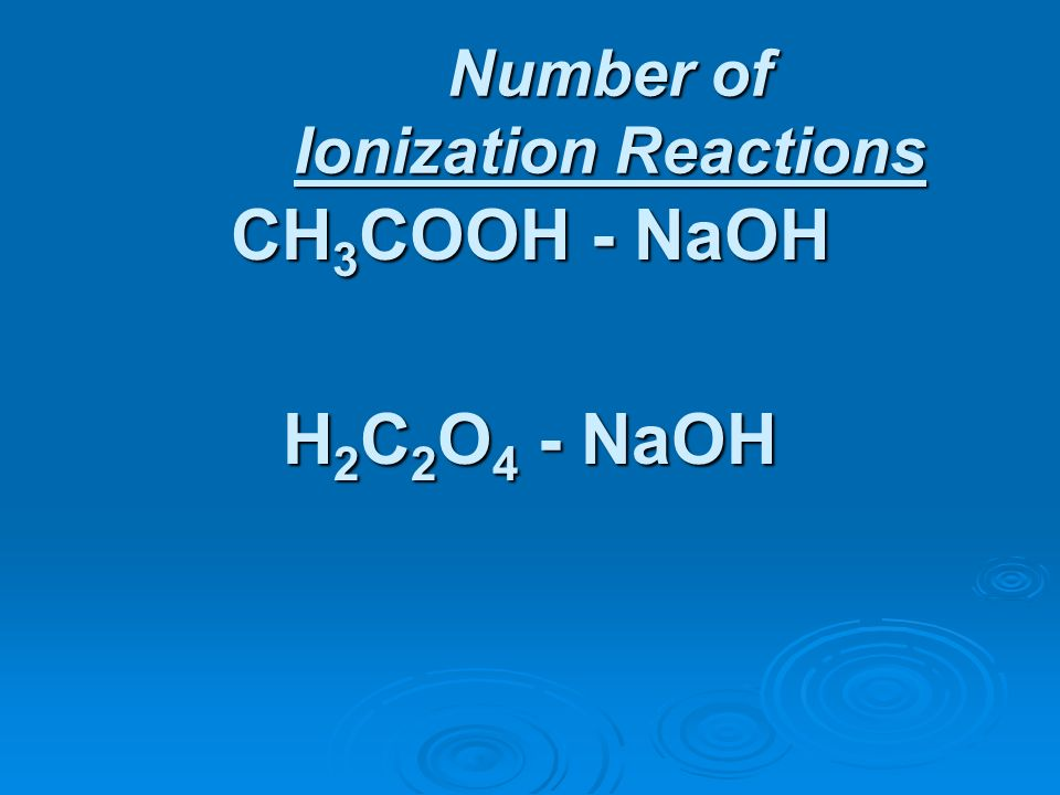 Number of Ionization Reactions