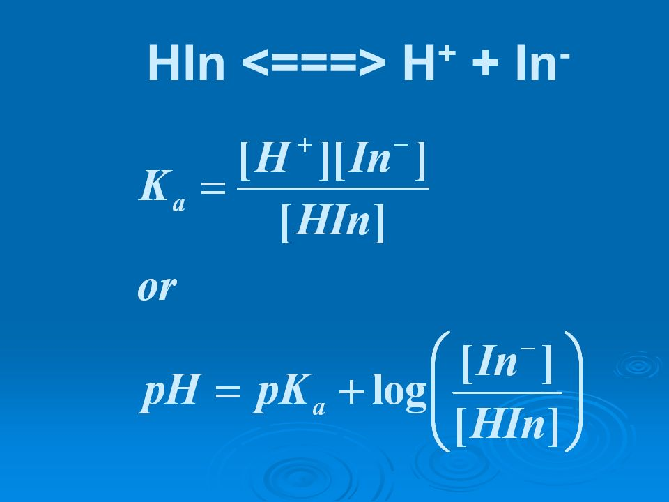 HIn <===> H+ + In-