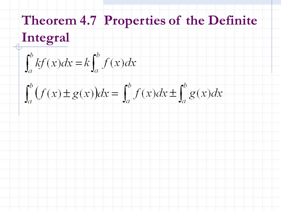 Theorem 4.7 Properties of the Definite Integral