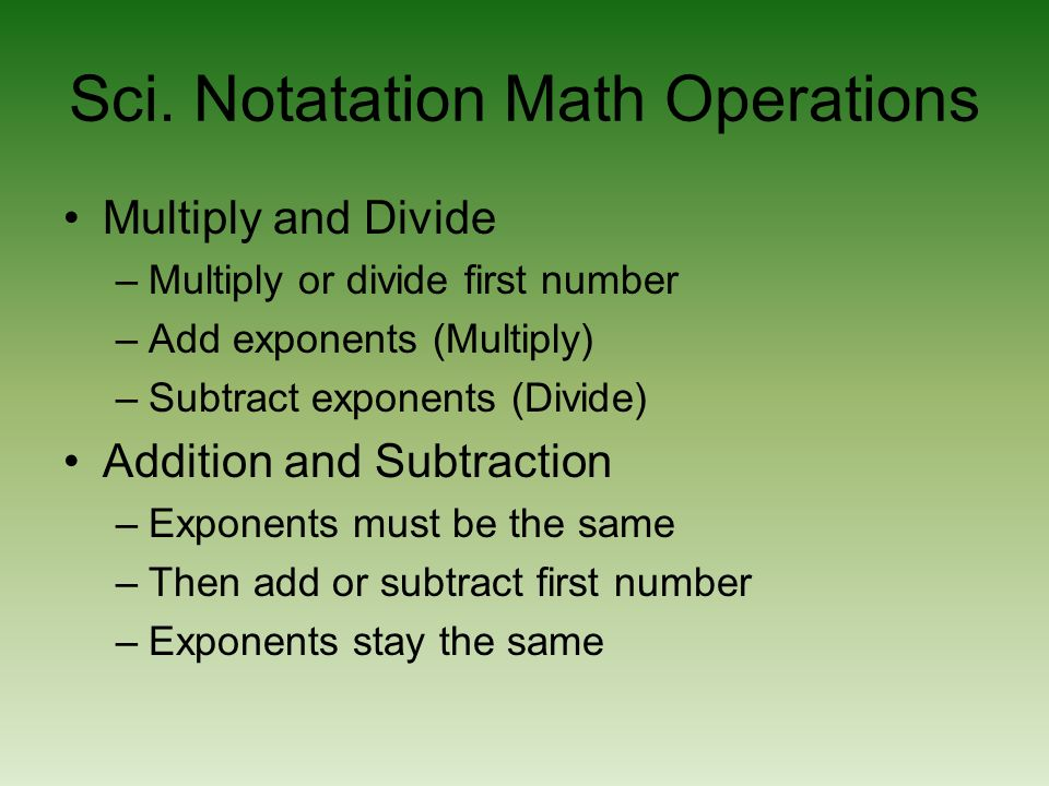 Sci. Notatation Math Operations