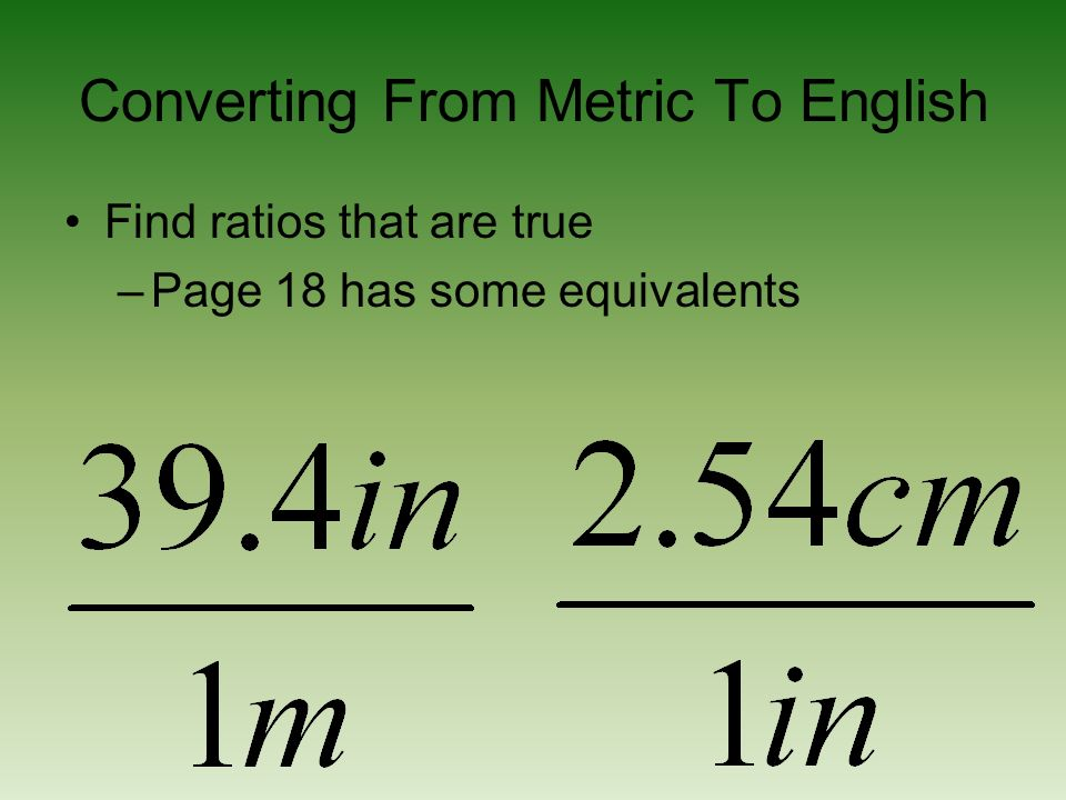 Converting From Metric To English