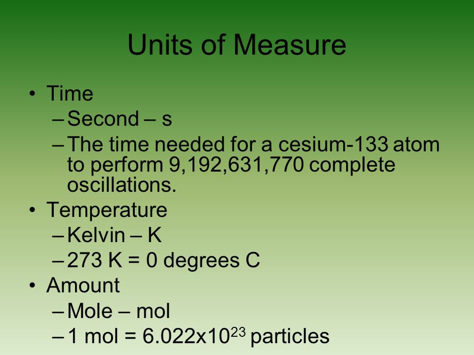 Units of Measure Time Second – s