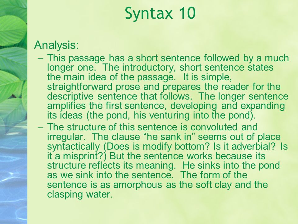 Syntax 10 Analysis: