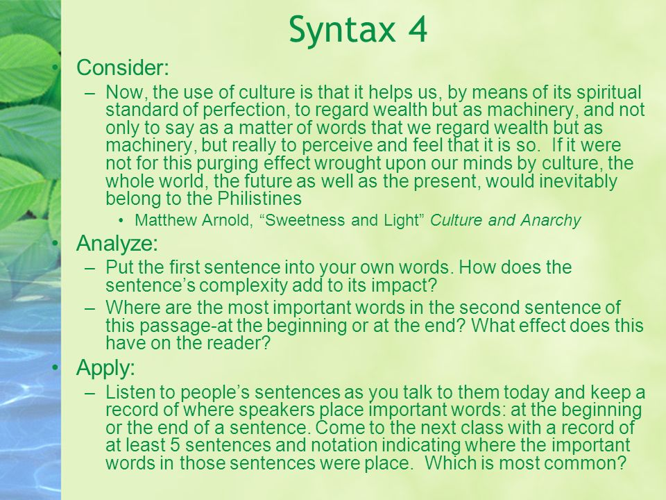 Syntax 4 Consider: Analyze: Apply: