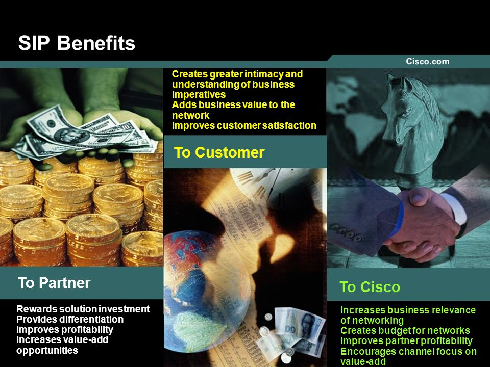 SIP Benefits To Customer To Partner To Cisco