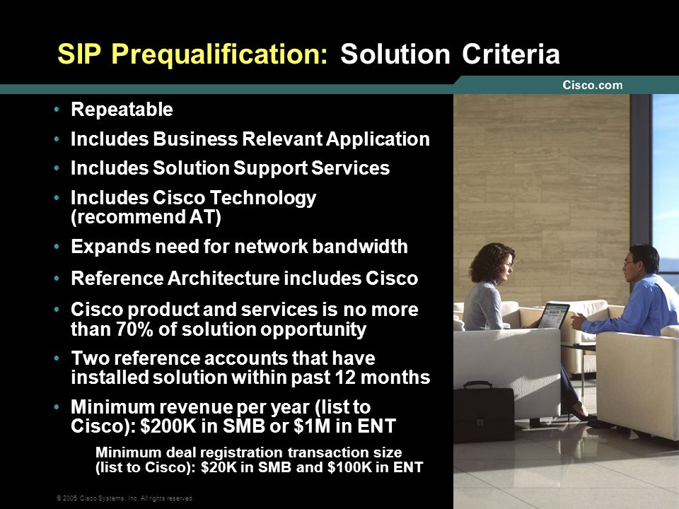 SIP Prequalification: Solution Criteria