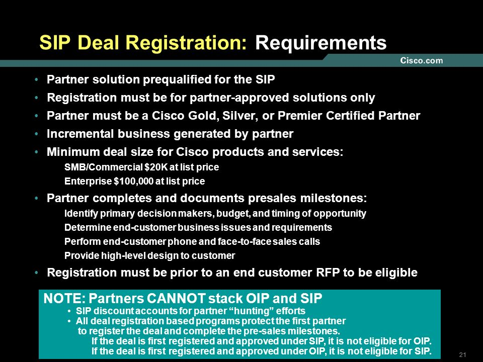 SIP Deal Registration: Requirements