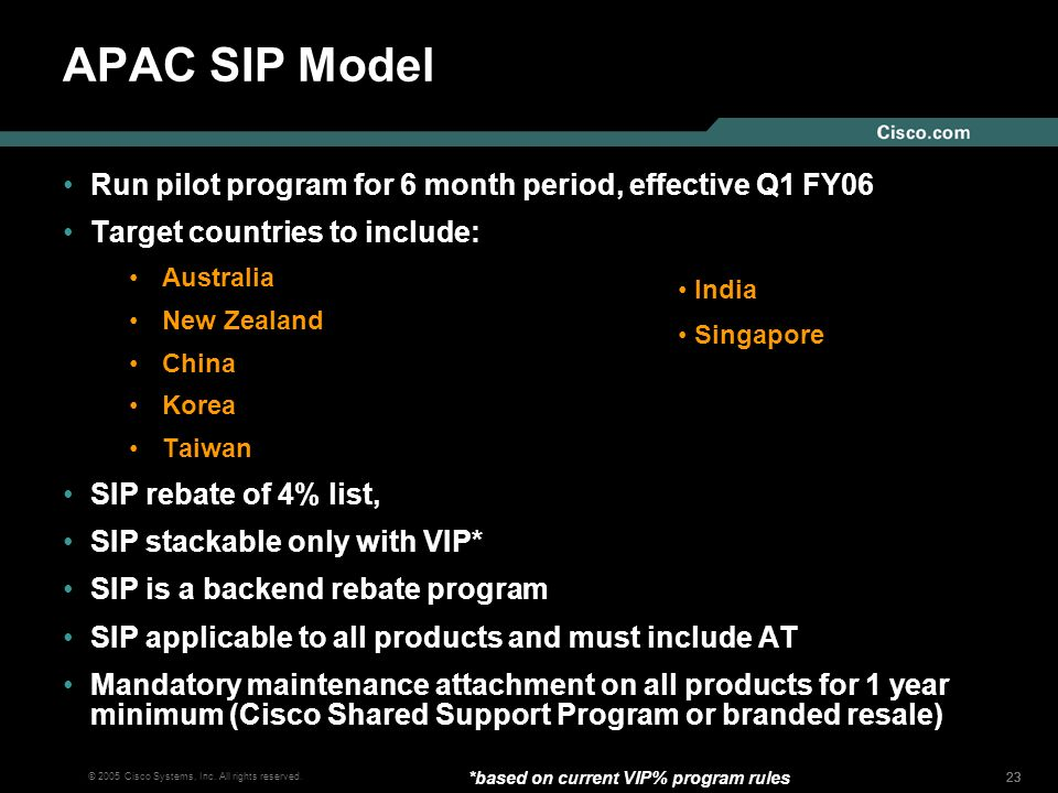 APAC SIP Model Run pilot program for 6 month period, effective Q1 FY06