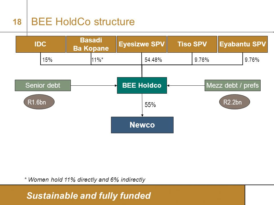 BEE HoldCo structure Sustainable and fully funded Newco IDC Basadi