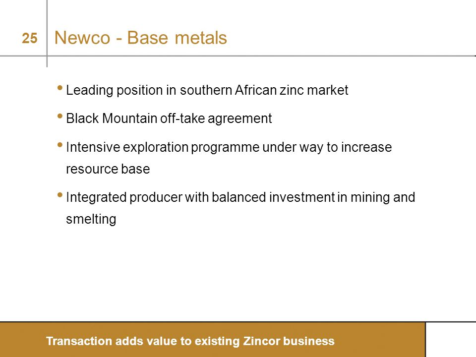 Newco - Base metals Leading position in southern African zinc market