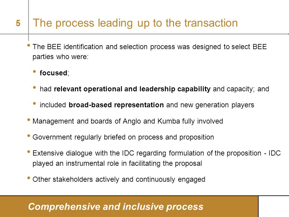 The process leading up to the transaction