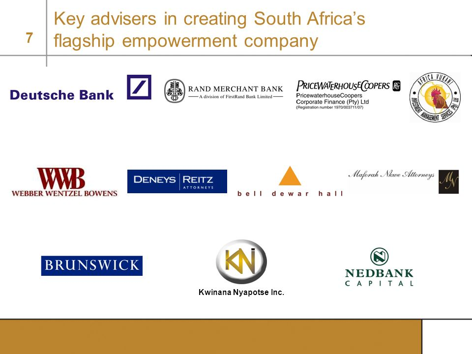 Key advisers in creating South Africa's flagship empowerment company