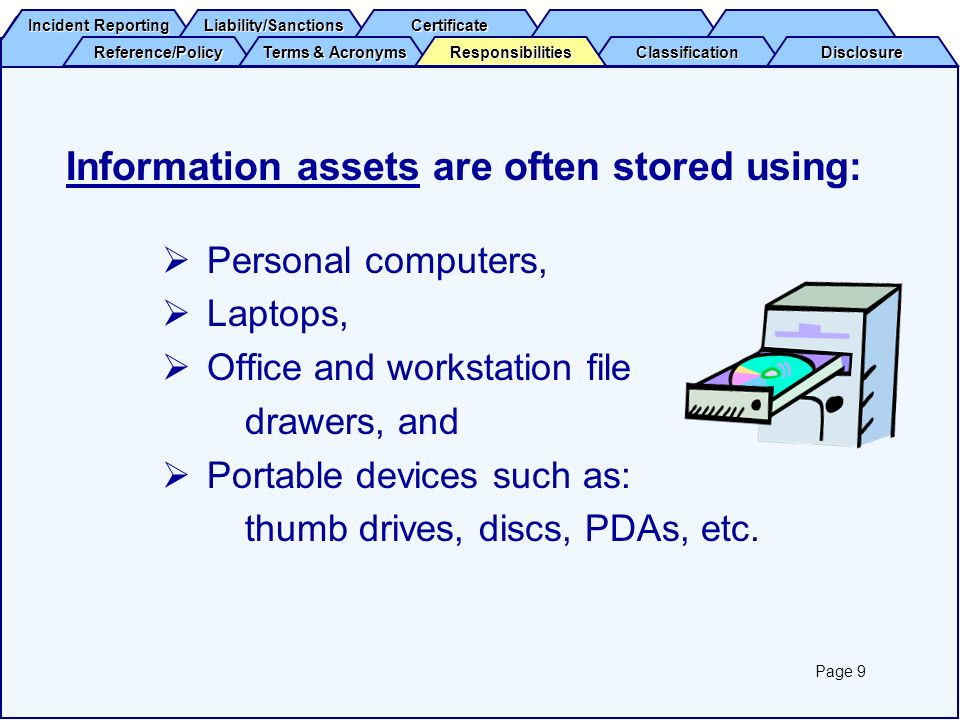 Information assets are often stored using: