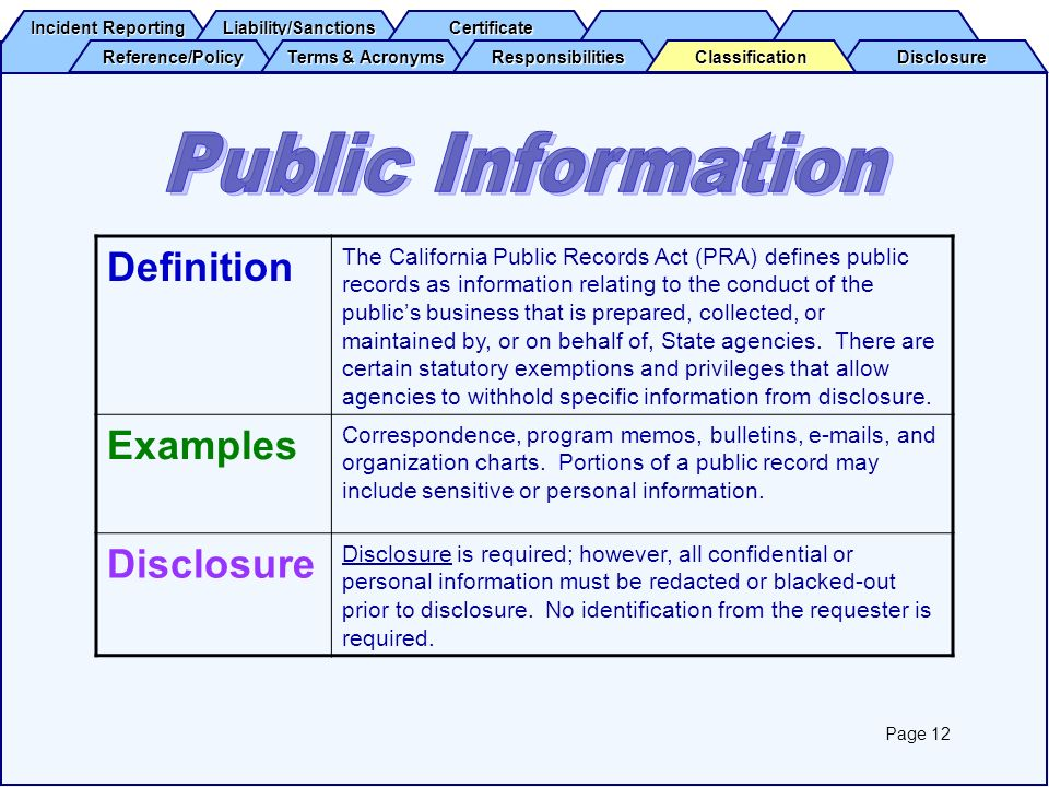 Public Information Definition Examples Disclosure