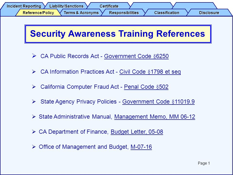 Security Awareness Training References