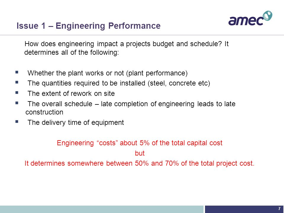 Issue 1 – Engineering Performance