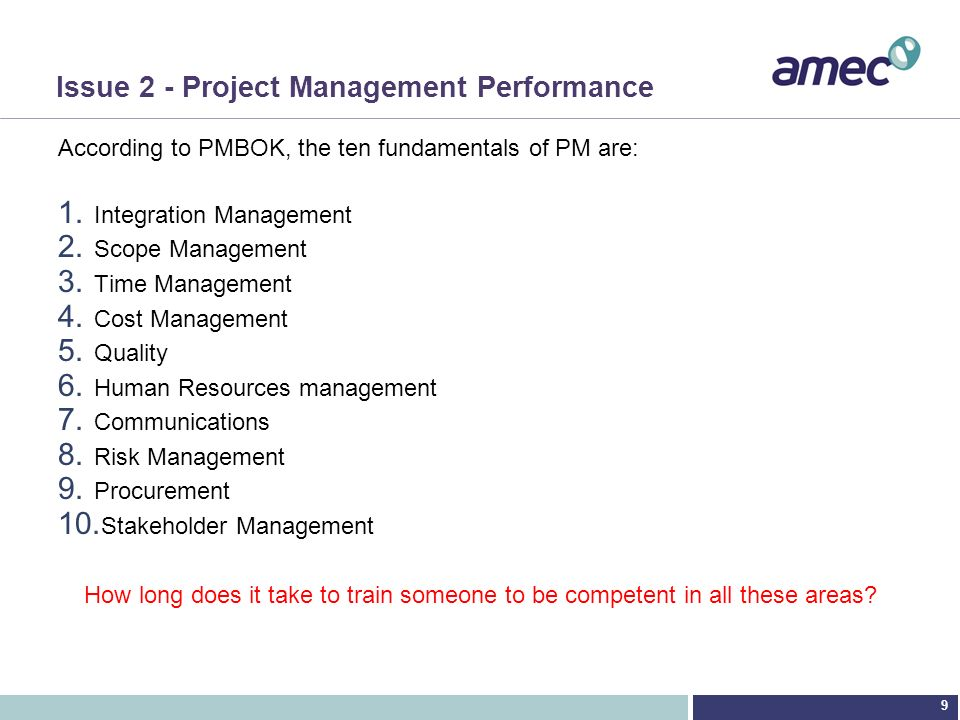 Issue 2 - Project Management Performance