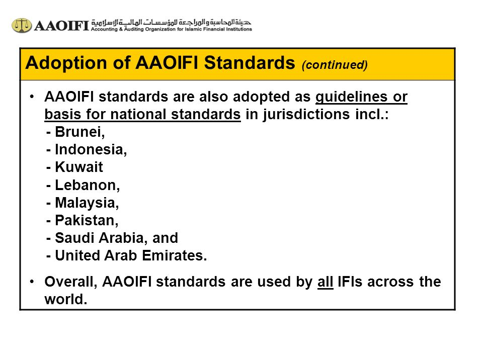 Adoption of AAOIFI Standards (continued)