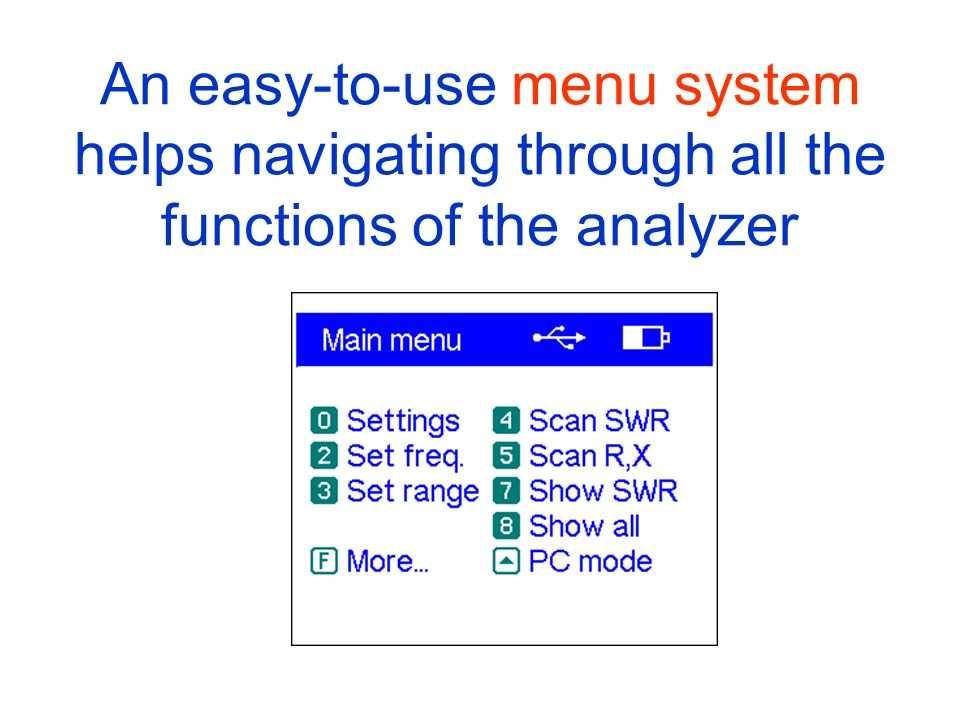 An easy-to-use menu system helps navigating through all the functions of the analyzer